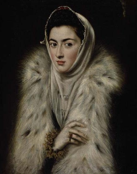 """""""Dama del Armiño"""", atribuida al Greco, y actualmente exhibida en una sala de una colección particular de Pollok House en Glasgow."""